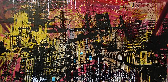 UR NEW YORK, Street Treats, 2010. Acrylic, spray paint, screen print, polyurethane and hand embellishments, 24 x 48 inches.