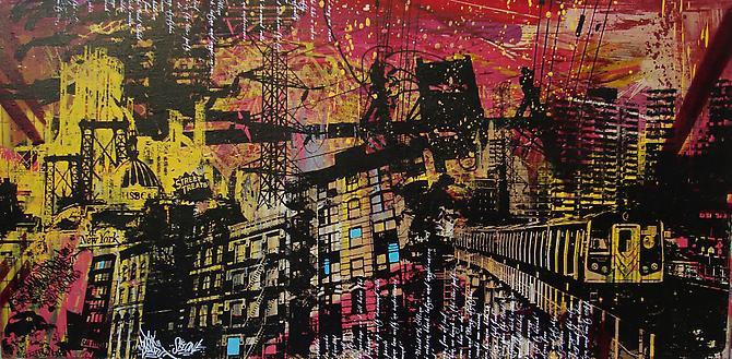 UR NEW YORK, Street Treats, 2010. Acrylic, spray paint, screen print, polyurethane and hand embellishments, 24 x 48 inches.