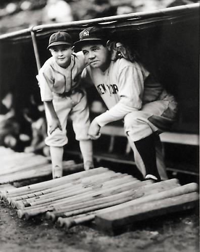 Babe Ruth with White Sox Bat Boy not dated gelatin silver print