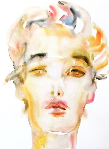 Kim McCarty, Untitled (Head Tilted) (2012) Watercolor On Paper 30h x 22w in (76.2h x 55.88w cm)