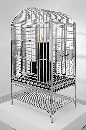 James Lee Byars' Hook 2010 Stainless steel birdcage, gold-plated stainless steel arm hook, black acrylic 61 x 34 x 24 inches