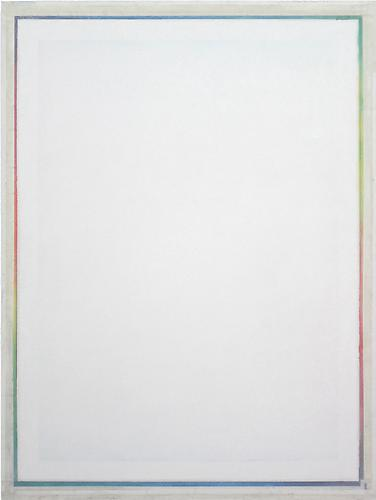 Ryan Wallace, Untitled Spectrum Reflector (1) (2011) Oil, enamel, acrylic, crystalina, Mylar on canvas 48h x 36w in (121.92h x 91.44w cm)
