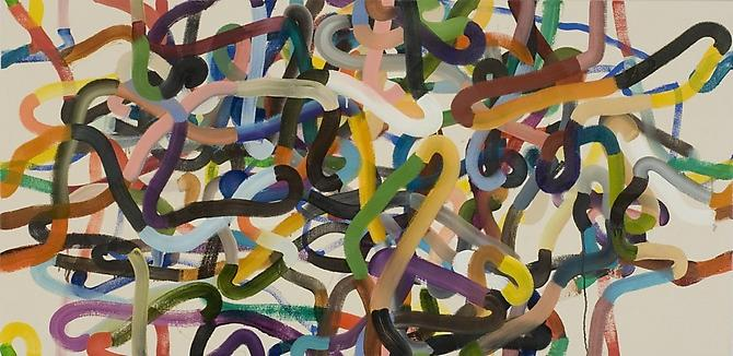 Jeff Perrott, Martingale (2010) Oil And Enamel With Pencil On Canvas  30h x 62w in (76.2h x 157.48w cm)