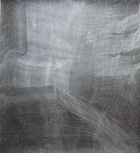 Sam Messenger: Veil from Tigris (2012) Pen and Ink, Ink Wash, Starch Paste, Salt Water On Paper 65h x 59w in (165.1h x 149.86w cm)