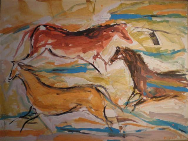Cave #49, Morning Horses,1984 Acrylic on paper on canvas	 30 x 40 inches (76.2 x 101.6 cm)		 Signed lower right DEKO_E_108