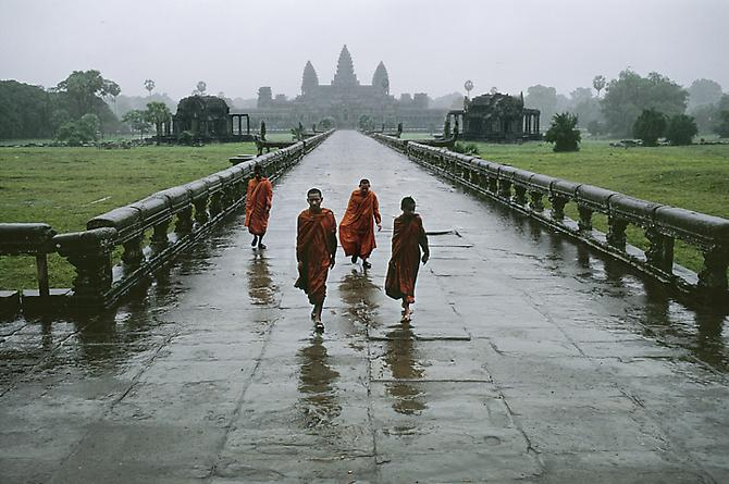 Monks in Rain, Angkor Wat 1999 C-type print on Fuji Crystal Archive paper