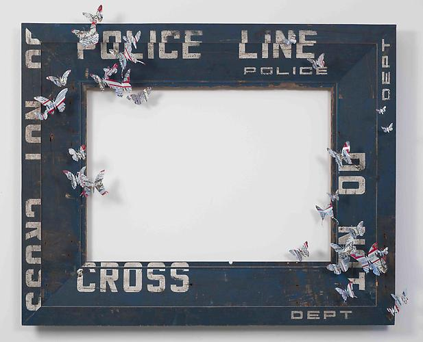 Paul Villinski, Landscape (2011) Wood (police Line Barrier), Aluminum (found Beer Cans), Wire 41h x 49.5w x 9d in (104.14h x 125.73w x 22.86d cm)