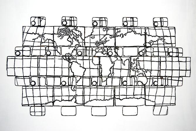 16 Oil Can Map of the World, 2009. Oil Cans, 42 x 79 inches.