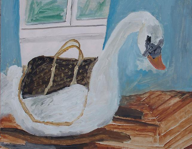 Still Life (Louis Vuitton and Swan), 2009 Oil on panel 8 x 10 inches