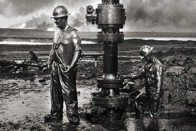 Removing a well head, Oil Wells, Kuwait 1991 Gelatin silver print