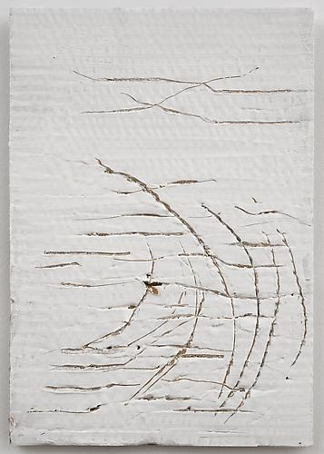 Nancy Lorenz, Untitled Cardboard II (2013) Gesso And Cardboard 11.5h x 7.5w in (29.21h x 19.05w cm)