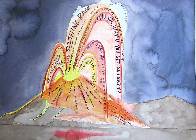 Cliff Hengst: Volcano Joe (2010) Watercolor On Paper 11h x 14w in (27.94h x 35.56w cm)