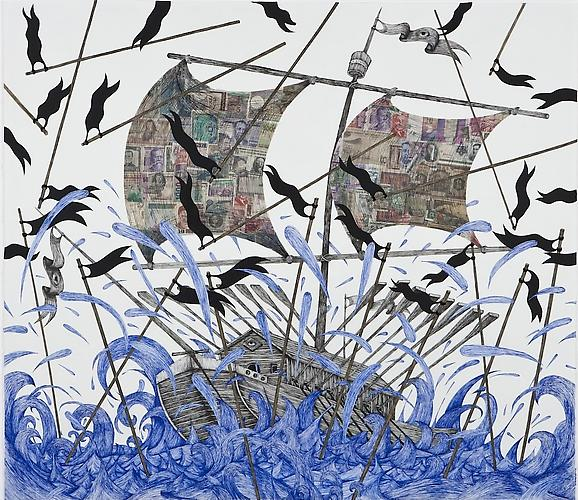 Andrew Schoultz, Black Flag Storm (2011) Ink, Acrylic And Collage On Paper 48h x 60w in (121.92h x 152.4w cm)