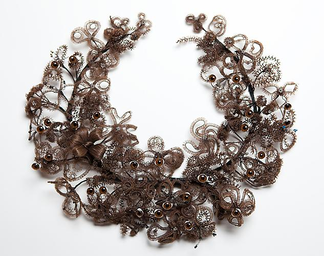 CINDY STELMACKOWICH | EYE WREATH | VICTORIAN HUMAN HAIR WREATH, METAL WIRE, GLASS TAXIDERMY EYES | 29 X 26 X 9 CM | 2011  IMAGE: RÉMI THÉRIAULT