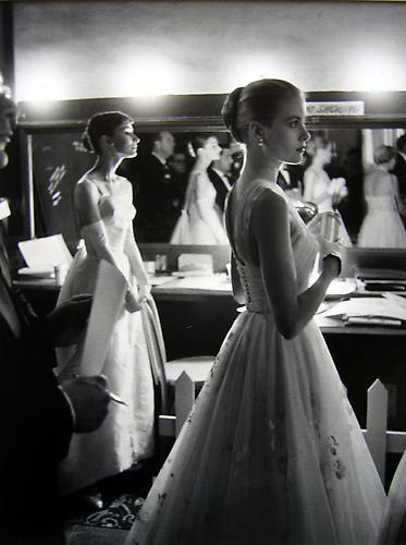 Audrey Hepburn and Grace Kelly Backstage at the 28th Annual Academy Awards, Hollywood, California 1956 gelatin silver print