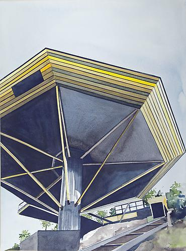 "Amy Park: John Lautner's ""Chemosphere"" House, Los Angeles, CA 1965 (2012) Watercolor On Paper 30h x 22w in (76.2h x 55.88w cm)"
