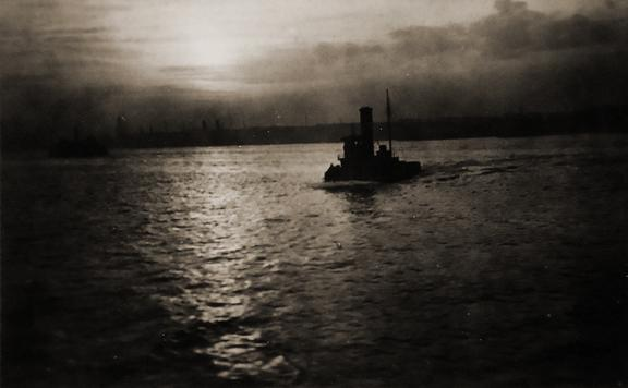 Steamboat on Hudson River, New York 1931 vintage gelatin silver print