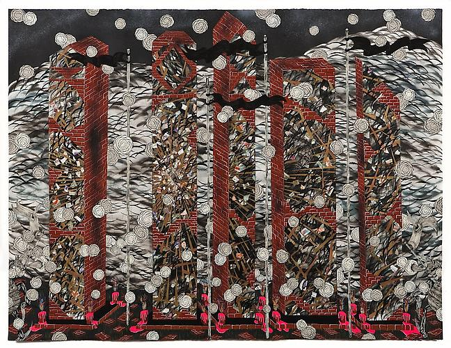 Andrew Schoultz, 5 Reflective Pillars (2011) Acrylic, Collage, Gold Leaf, And Gouache On Paper 38h x 50w in (96.52h x 127w cm)