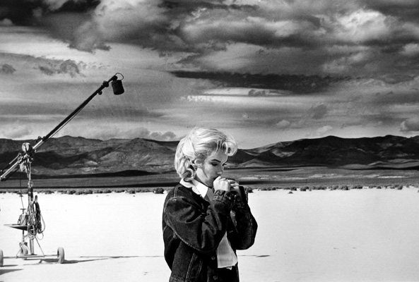 Marilyn Monroe on the Set of The MisFits, Nevada (going over her lines for a difficult scene she is about to play with Clark Gable) 1960 gelatin silver print