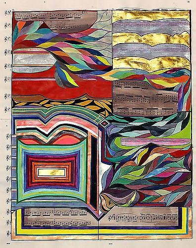 Sarah Cain: The Astral World (2011) Gold Leaf, Acrylic, Gouache On Music Sheet 23h x 18w in (58.42h x 45.72w cm)