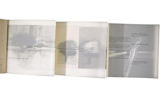The accordion style book is 7 7/8&quot; x 6 3/8&quot; and contains 12 pages, printed on vellum, Rives Cream, and Indian handmade paper.