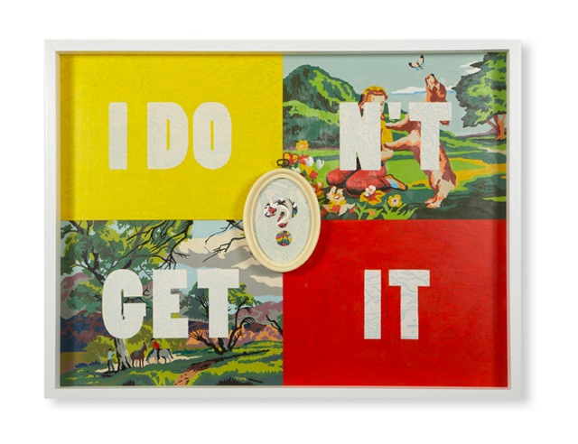 Trey Speegle I Don't Get It, 2007. Acrylic on vintage paint-by-number panels, vintage paint-by-number panels, vintage molded plastic frame, 26 x 38 inches.