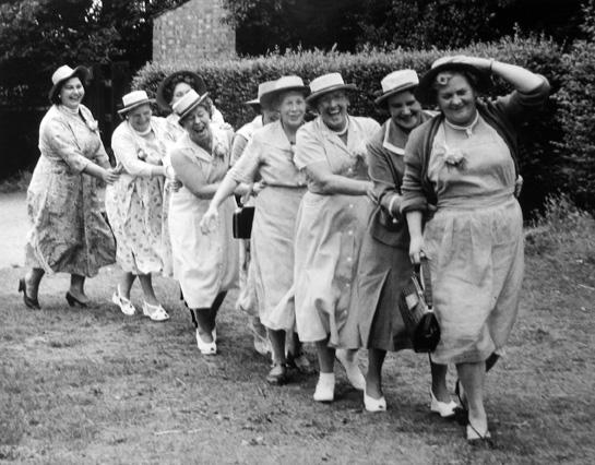 Conga Line, From the Mother's Pub Outing, Clapham, England 1956 gelatin silver print