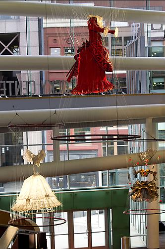 Divas Ascending, 2009 Retired wardrobe from New York City Opera, stainless steel rings, monofilament and hardware