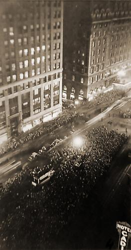 Election Night, Franklin D. Roosevelt, Times Square 1932 vintage gelatin silver print
