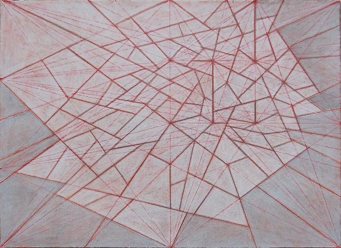 Vance Wingate Composition #26 (8 points), 2010 Color pencil, graphite and ink on coated paper, 11 x 15 inches.