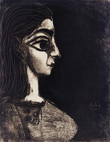 Bust in Profile: Two States (M. 306; B. 845) ,  25 1/4 x 19 1/2 inches (64.1 x 49.5 cm), Two lithographs on Arches paper, 1957