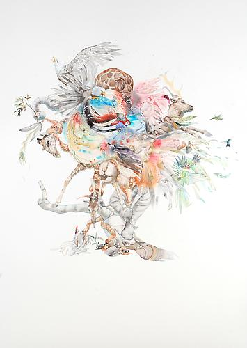 Laura Ball, The Tree (2011) Watercolor On Paper 40h x 26w in (101.6h x 66.04w cm)
