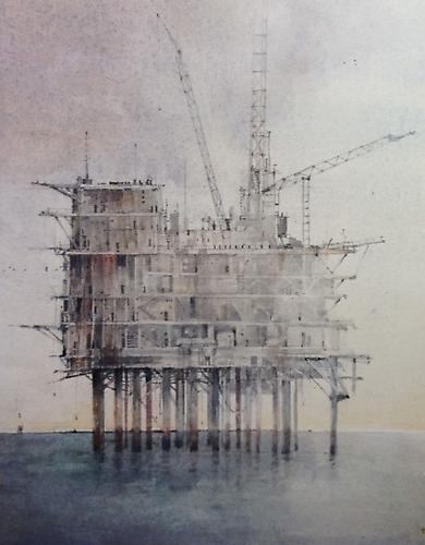 Errol Barron: Abandoned Rig (New Orleans) (2012) Watercolor On Paper 20h x 16w in (50.8h x 40.64w cm)