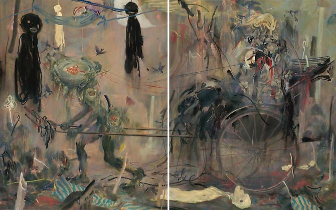 Rickshaw, 2009  Acrylic, Oil, & Pastel on Two Canvases 60 x 96 inches