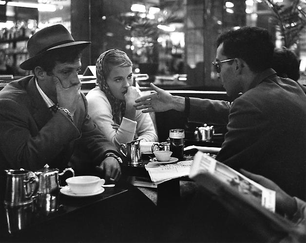 Heated debate between Godard and Jean Seberg about the scene, in the cafe on the Champs Elysees (A Bout De Souffle) 1959 gelatin silver print