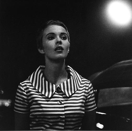 Jean Seberg during the filming of a night scene on the Boulevard Saint Germain (A Bout De Souffle) 1959 gelatin silver print