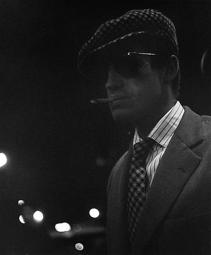 Belmondo during a night shoot on Boulevard St. Germain (A Bout De Souffle) 1959  gelatin silver print