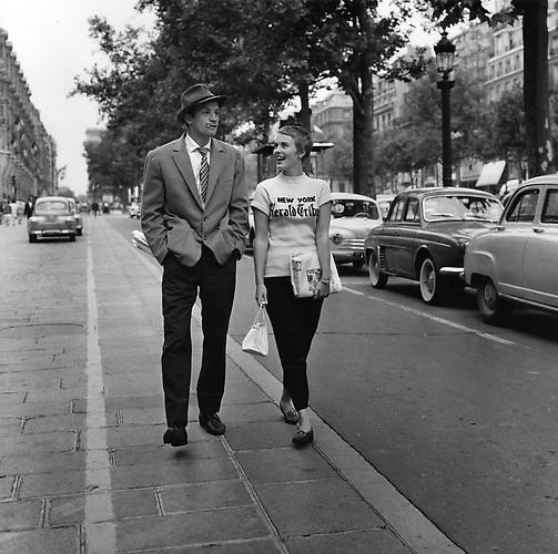 Jean-Paul Belmondo and Jean Seberg off-set on the Champs Elysees (A Bout De Souffle) 1959 gelatin silver print