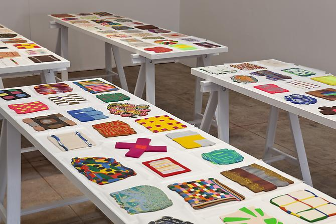 "Polly Apfelbuam Feelies, 2010 plasticine and polymer clay 9 pieces  Installation view: Michael Benevento, Los Angeles, California. ""Double Nickels on the Dime,"" September 23 - October 29, 2011."