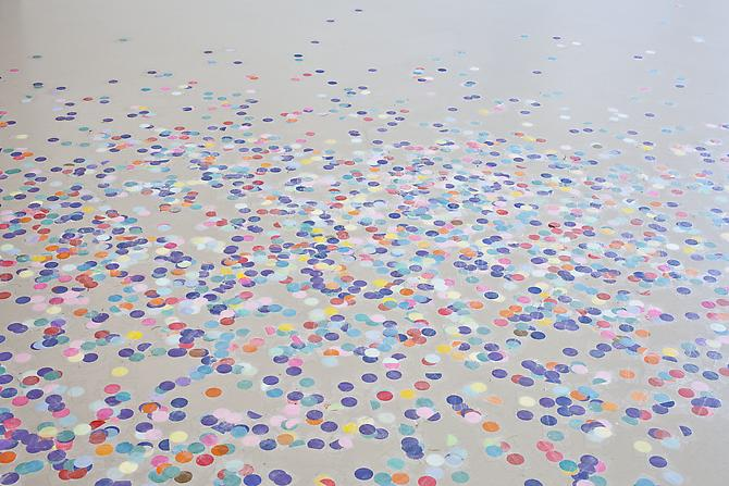 Amalia Pica Stabile (with confetti), 2012 paper and tape 118.11 x 118.11 inches