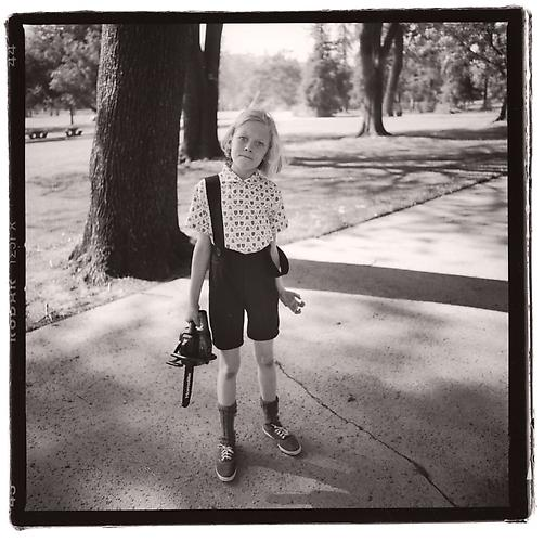 "Diane Arbus ""American Child with toy chainsaw in Griffith Park, Los Angeles,"" 1962 Gelatin silver print Ed. 15 20 x 24 inches"