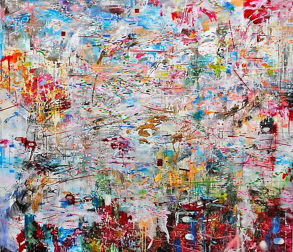 AMY SCHISSEL | MAINTAIN THETA | MULTIMEDIA ON CANVAS | 55 X 65 INCHES | 2011 | SOLD
