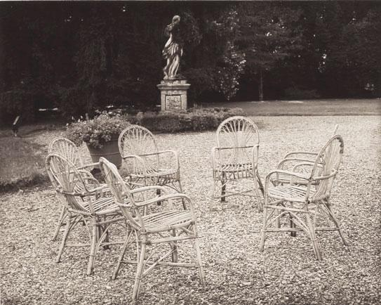 Cane Chairs and Sculpture, Villa Manci-Segromigno 1998 Platinum/palladium print