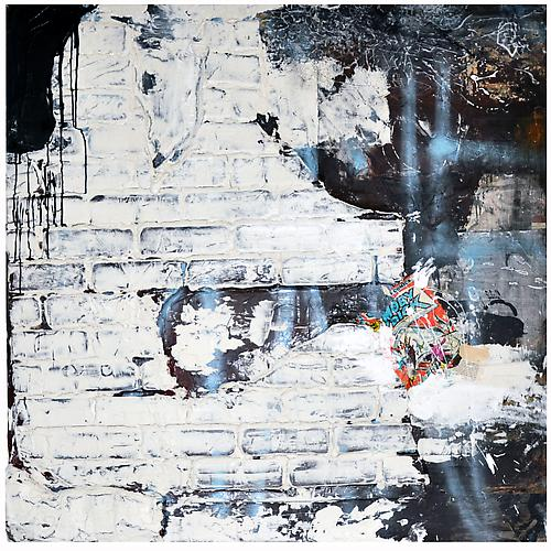 And I Alone Escaped to Tell Thee , 2012 Acrylic, paper, collage on panel 48 x 48 inches