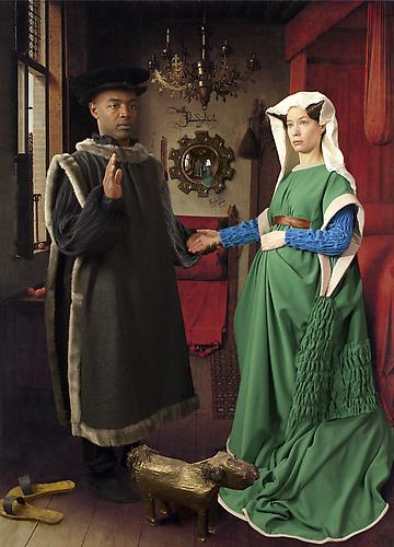 E2: Elizabeth Kleinveld and Epaul Julien  Ode to Van Eyck's Arnolfini Marriage , 2012 Ilford Glad Fibre Silk Print