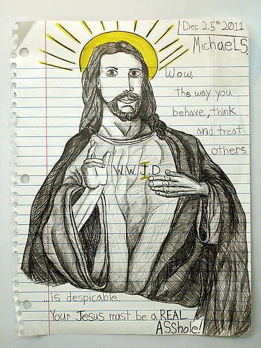 Asshole Jesus , 2012 Graphite, marker, Prismacolor on paper 67 x 51 inches