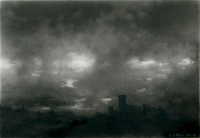Valley, 3, 2010 charcoal on Mylar 2 5/8 x 3 3/4 inches (BELL-D 36)