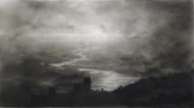 Valley, 4, 2010 charcoal on Mylar 3 x 4-1/2 inches