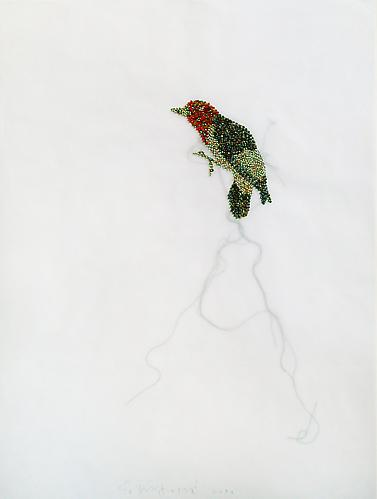 "Bird, 2009 Glass beads and thread on vellum 21"" x 27"""