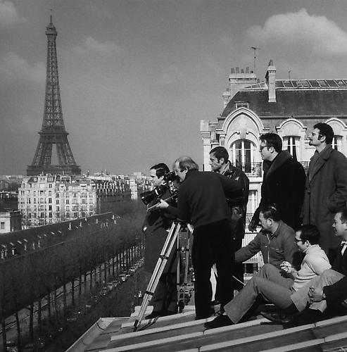 Shooting on the roof with chef operator Denys Clerval (Baisers Voles) 1968 gelatin silver print